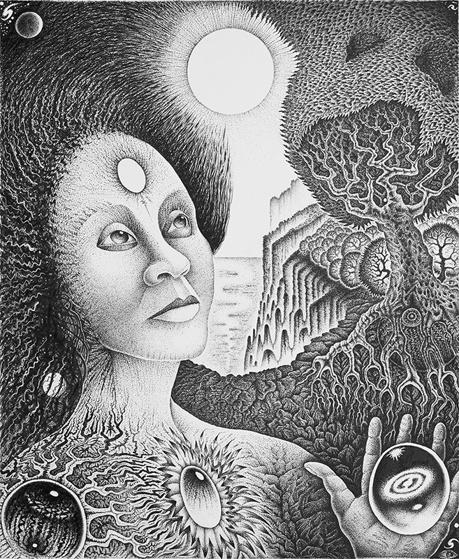 Woman Third Eye 2 Pen & Ink Black & White